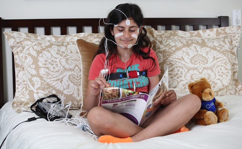 Young Girl Prepared for a Sleep Study
